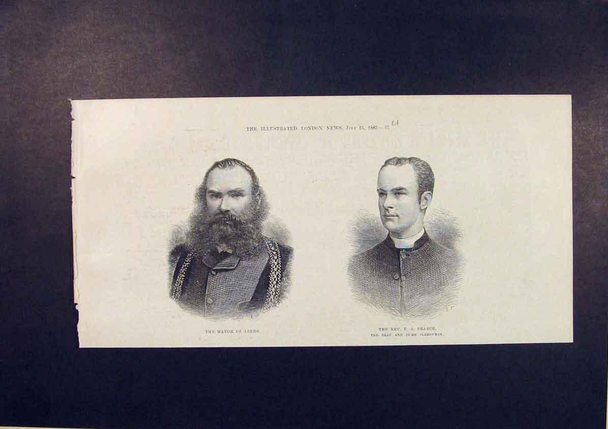 Print Portrait Mayor Leeds Reverend Pearce Deaf Dumb 1885 85Umaa1 Old Original