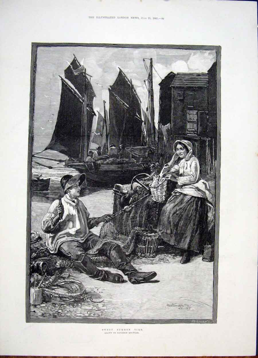 Print Knowles Summer Time Fisherman Docks Fine Art 1885 93Maa1 Old Original