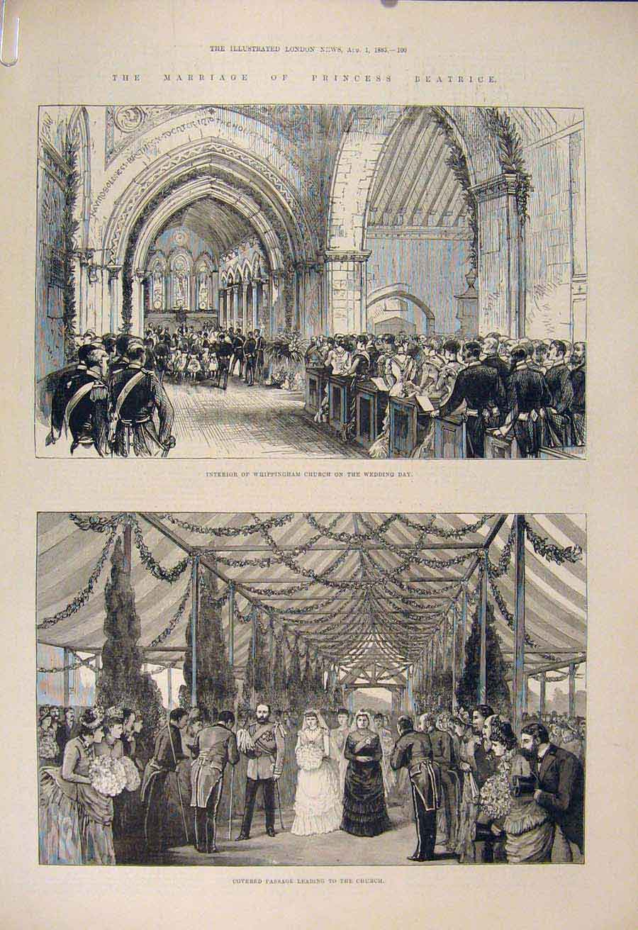 Print Church Princess Beatrice Whippingham 1885 00Amaa1 Old Original