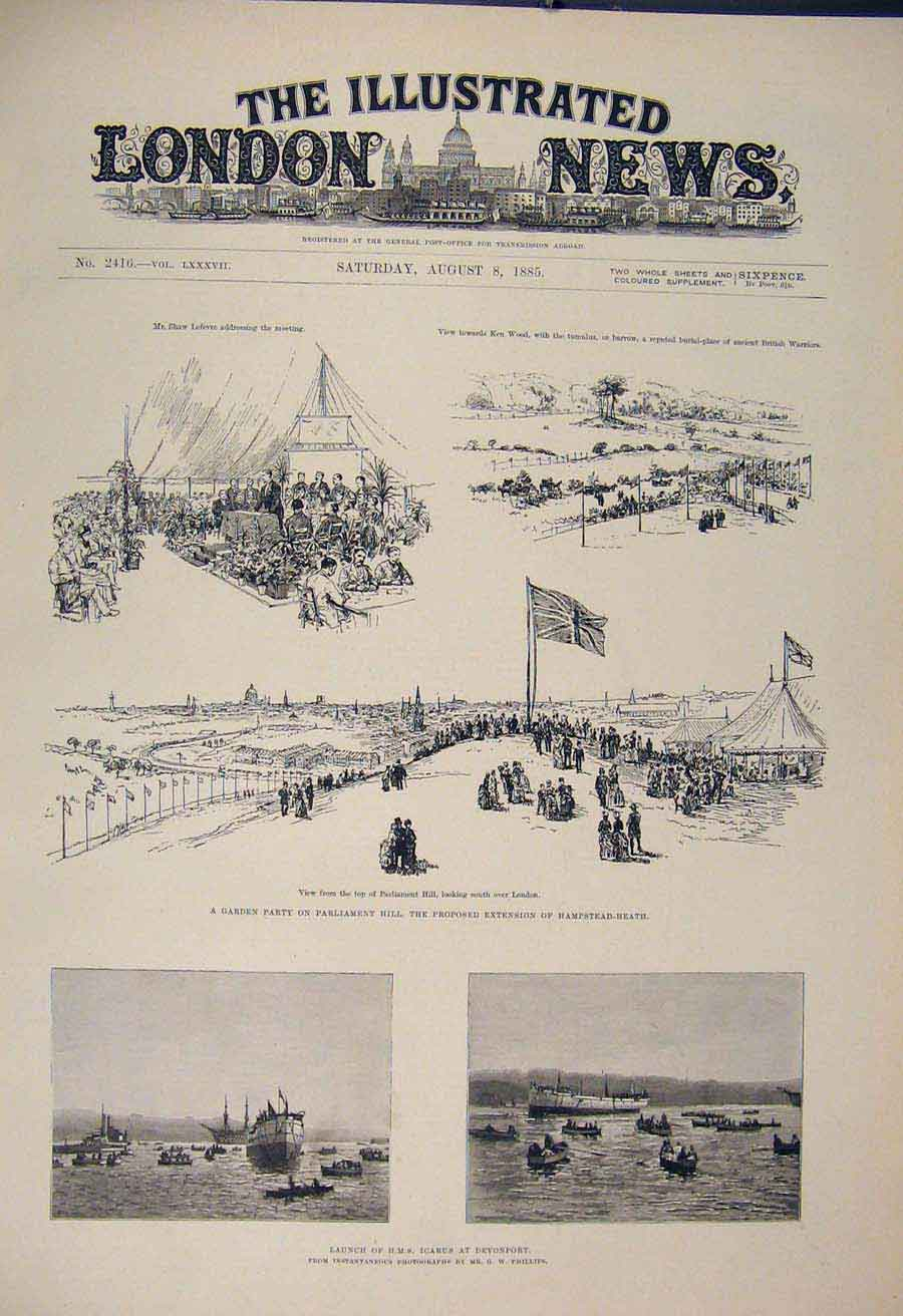 Print Garden Party Parliament Hampstead Hms Icarus Devonport 22Maa1 Old Original