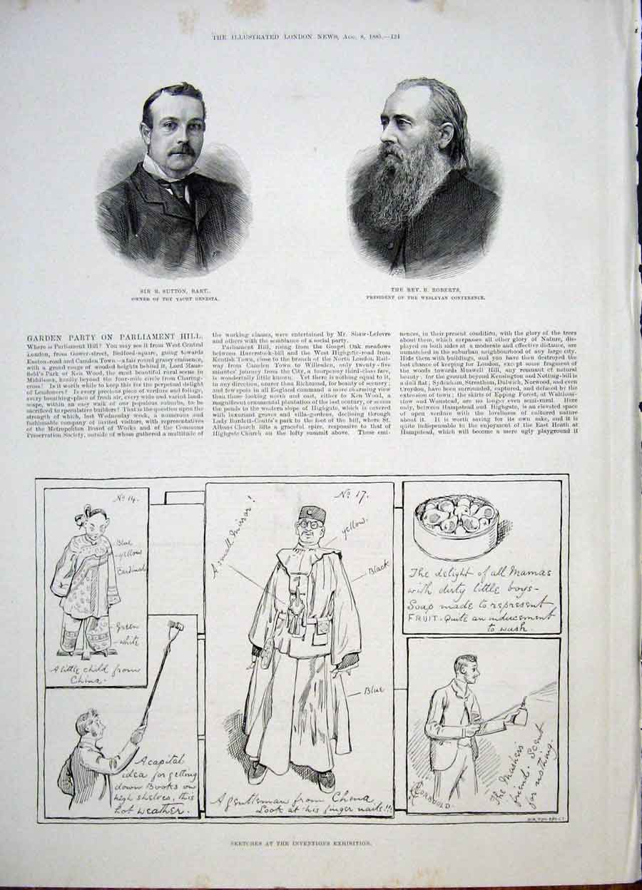 Print Portrait Bart Roberts Inventions Exhibition 1885 24Maa1 Old Original