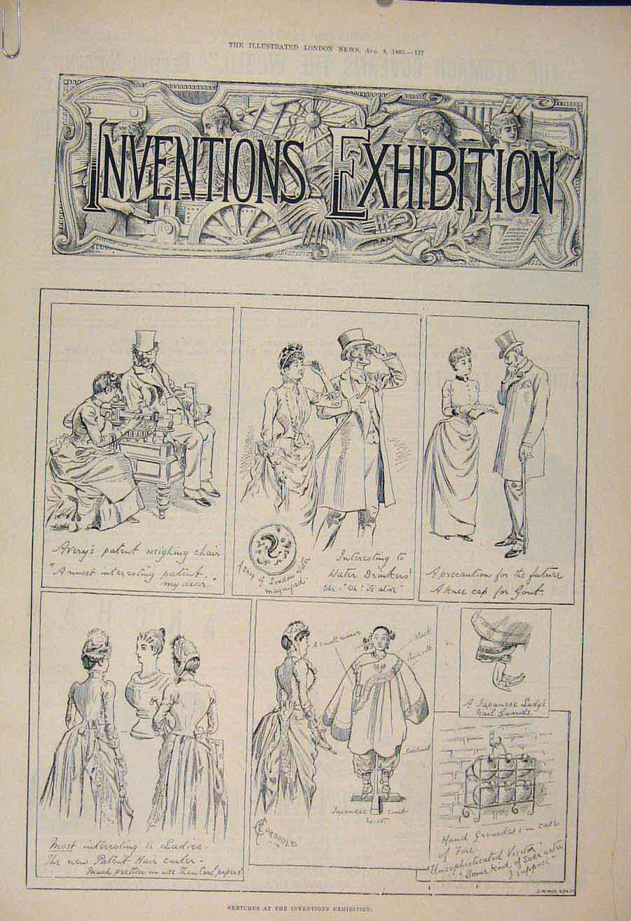 Print Inventiona Exhibition Sketches Sutton Roberts 1885 37Amaa1 Old Original