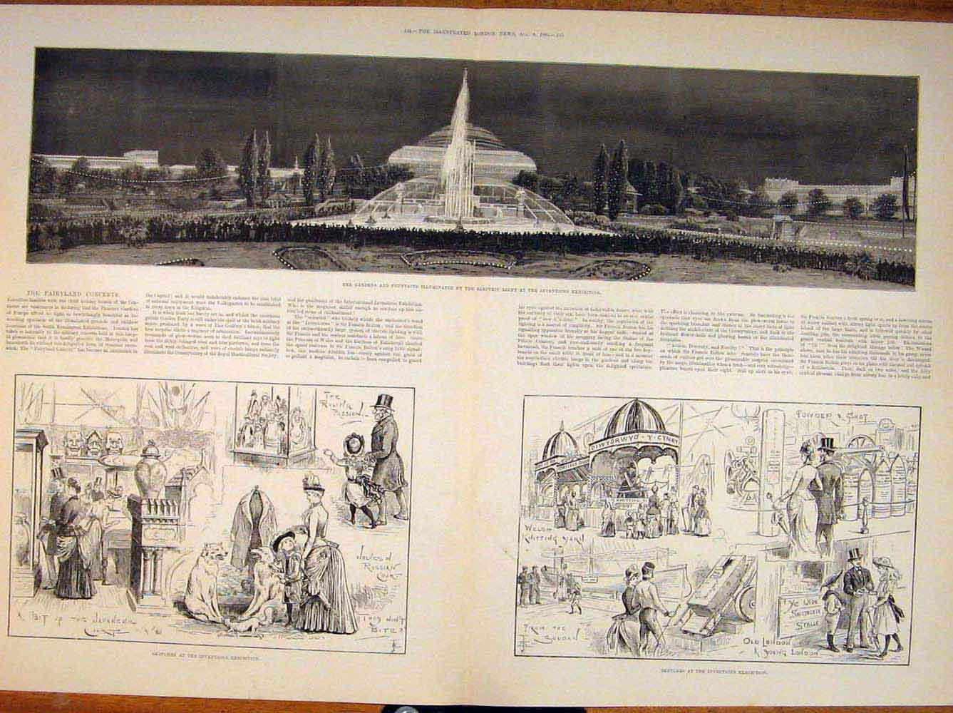 Print Gardens Fountain Electric Light Inventions Building 43Tmaa1 Old Original