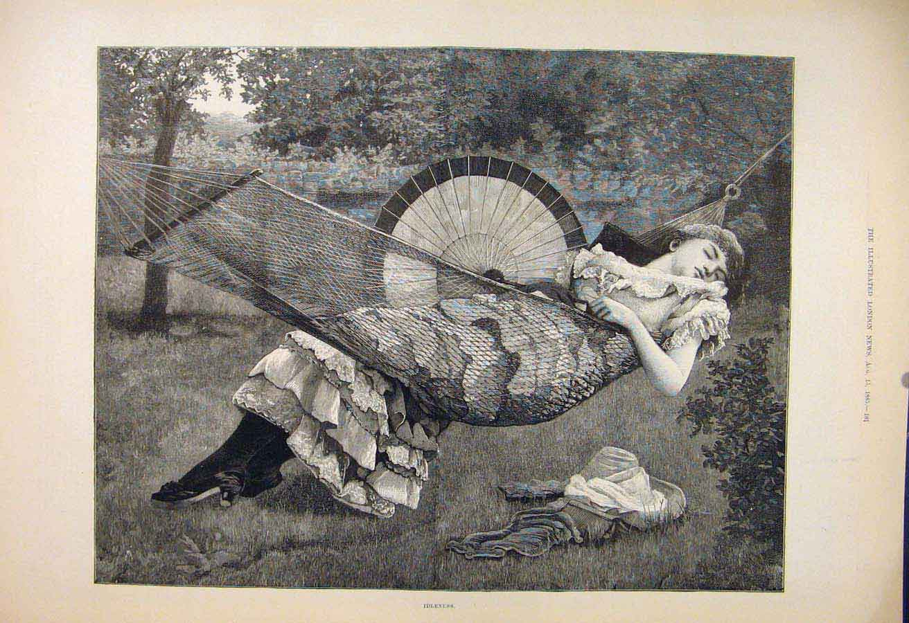 Print Idleness Lady Girl Sleeping Hammock Fine Art 1885 61Maa1 Old Original