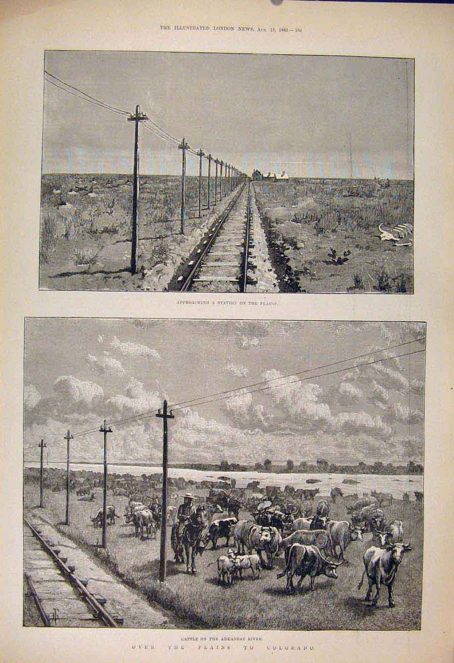 Print Station Plains Colorado America Usa Arkansas River 64Maa1 Old Original