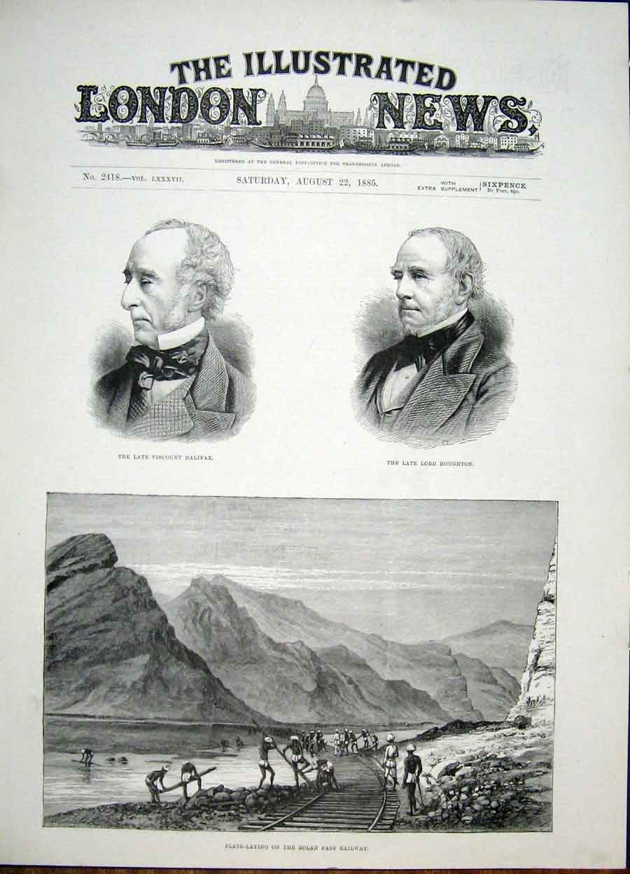 Print Portrait Halifax Houghton Bolan Pass Railway 1885 82Maa1 Old Original