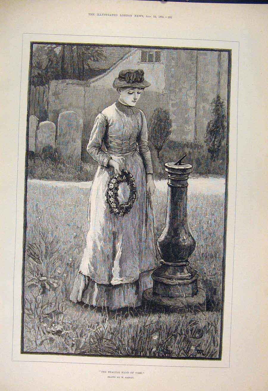 Print Healing Hand Time Rainey Lady Wreath Fine Art 1885 01Maa1 Old Original
