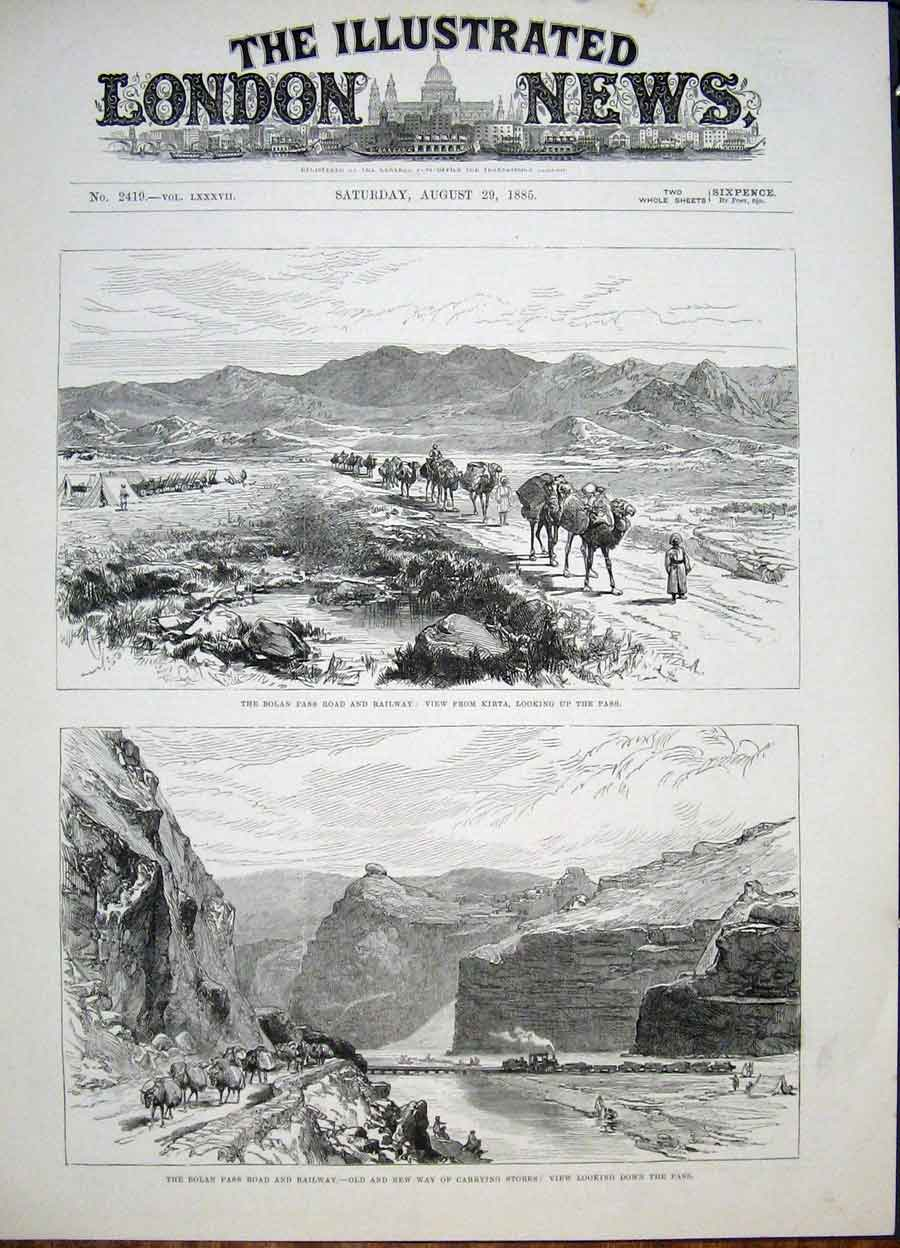 Print Bolan Pass Railway Kirta Road 1885 06Maa1 Old Original
