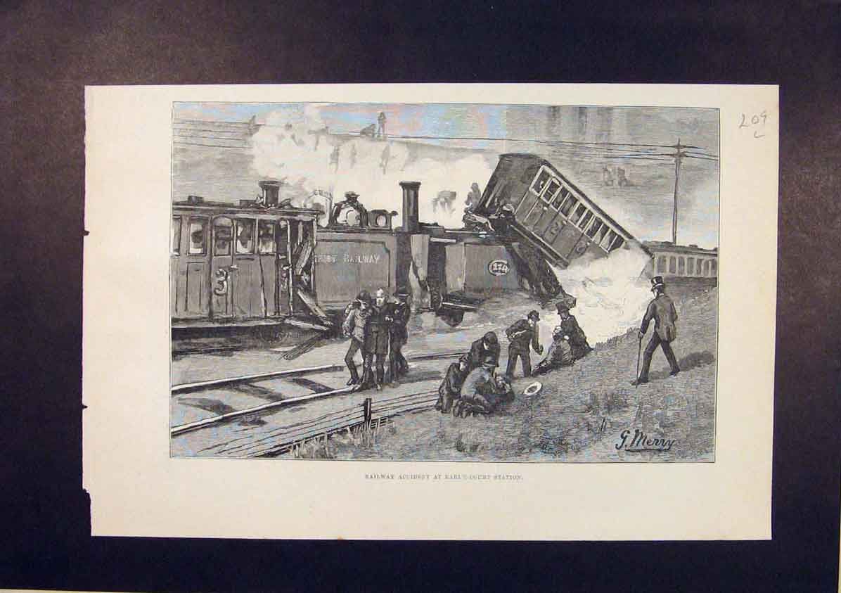 Print Railway Accident Earl'S Court Station London 1885 09Lmaa1 Old Original