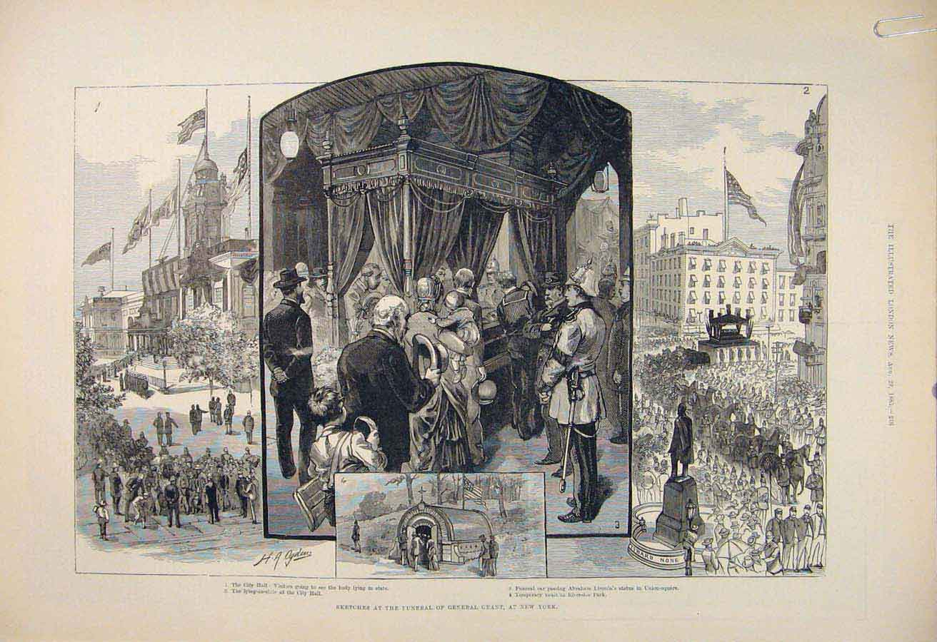 Print Grant Funeral New York America Lincoln Statue 1885 16Amaa1 Old Original