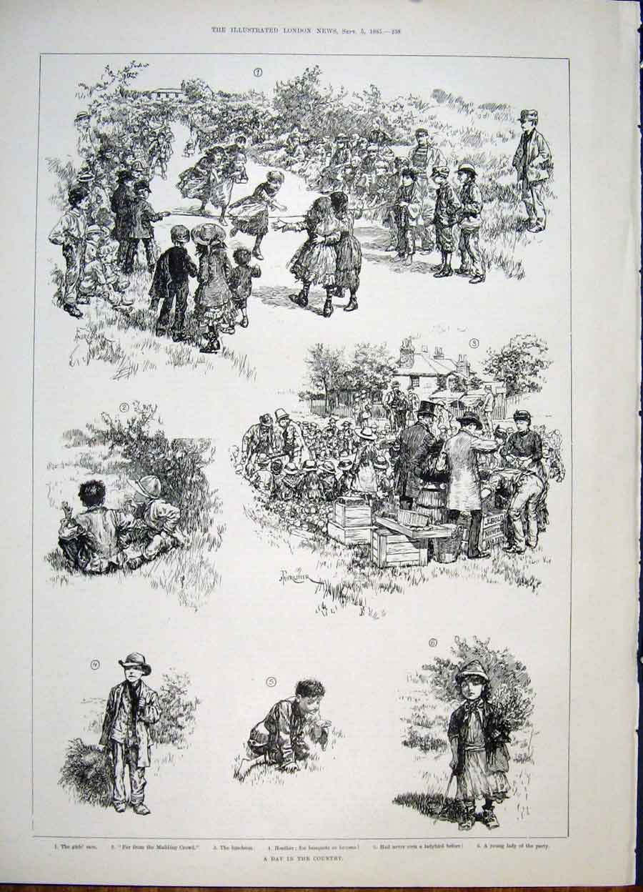 Print Country Race Children Sketch 1885 38Maa1 Old Original