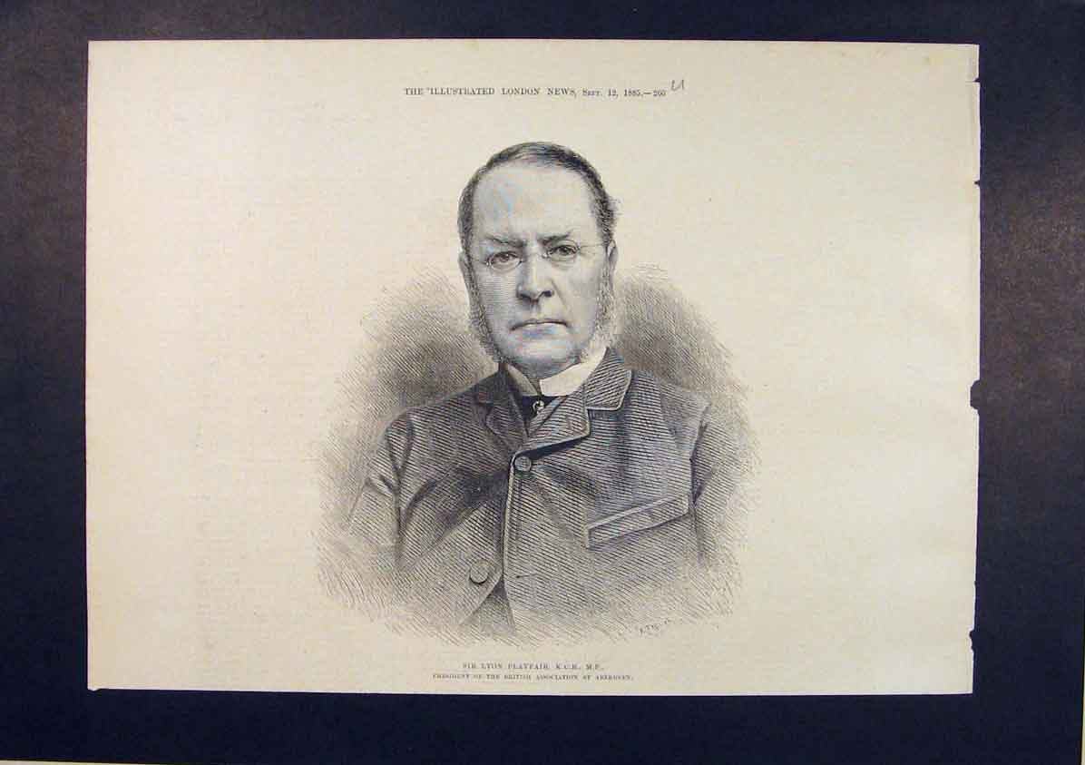 Print Portrait Playfair British Association Aberdeen 1885 66Umaa1 Old Original
