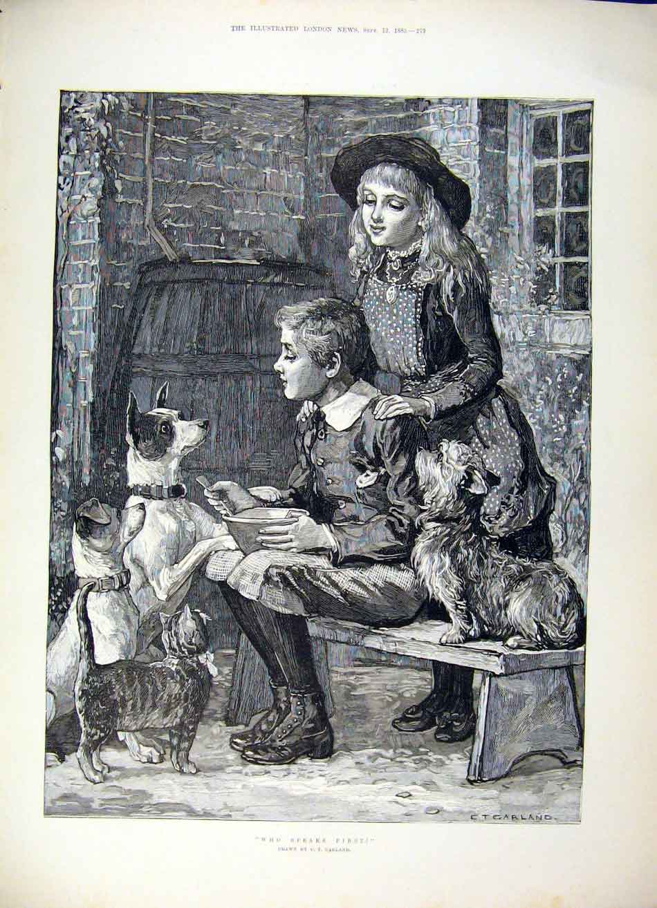 Print Garland Dog Dogs Dinner Children Girl Boy Fine Art 1885 79Maa1 Old Original