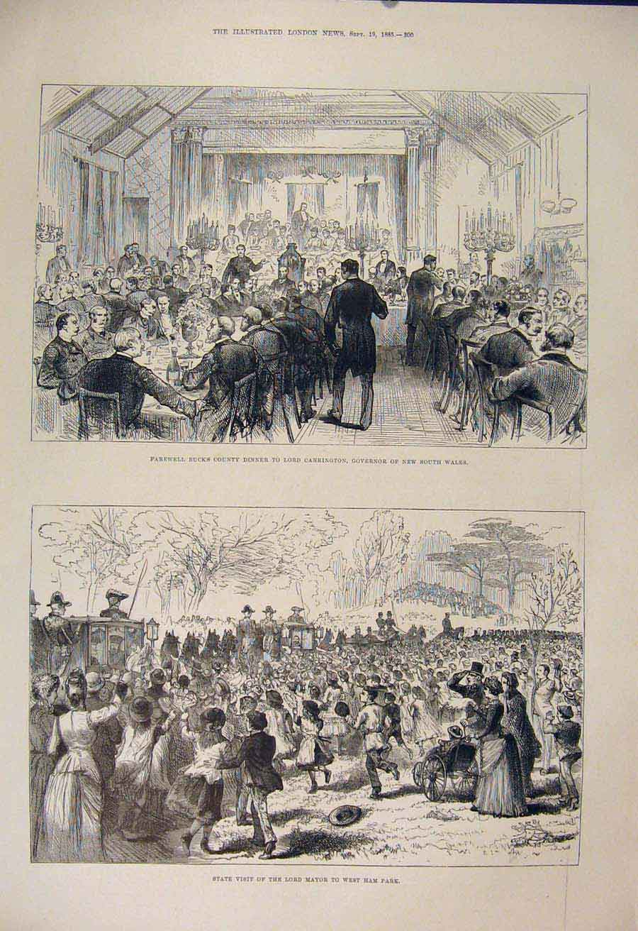 Print Carrington Dinner Wales Governor Mayor West Ham Park 00Maa1 Old Original