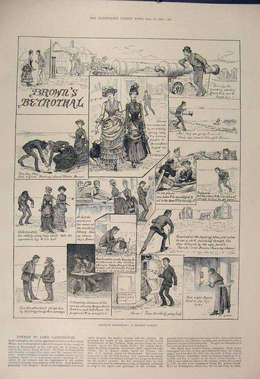 Print Seaside Comedy Betrothal Brown'S Sketch Fine Art 1885 01Maa1 Old Original