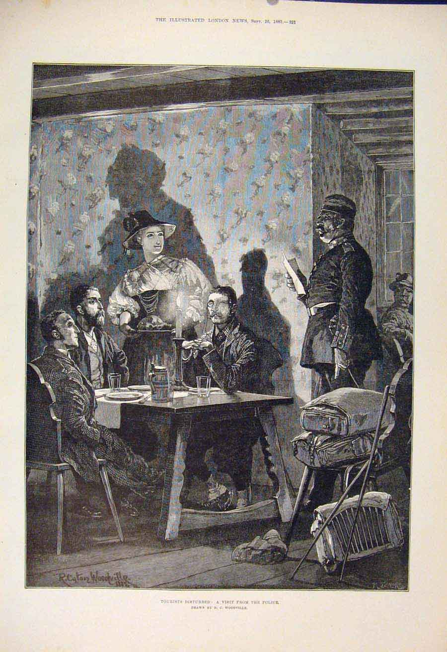 Print Police Visit Tourists Woodville Fine Art 1885 21Maa1 Old Original