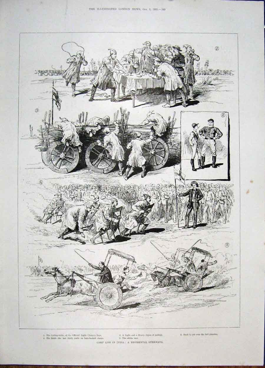 Print India Camp Gymkhana Race Jockey Regimental 1885 49Maa1 Old Original