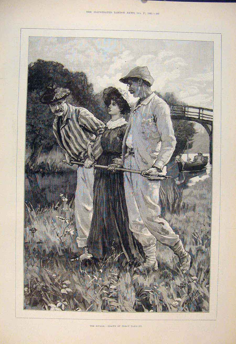 Print Rivals Men Lady Sketch Tarrant River Fine Art 1885 97Maa1 Old Original