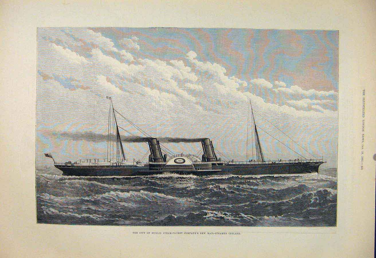 Print City Dublin Steam-Packet Company Mail Steamer Ireland 24Maa1 Old Original