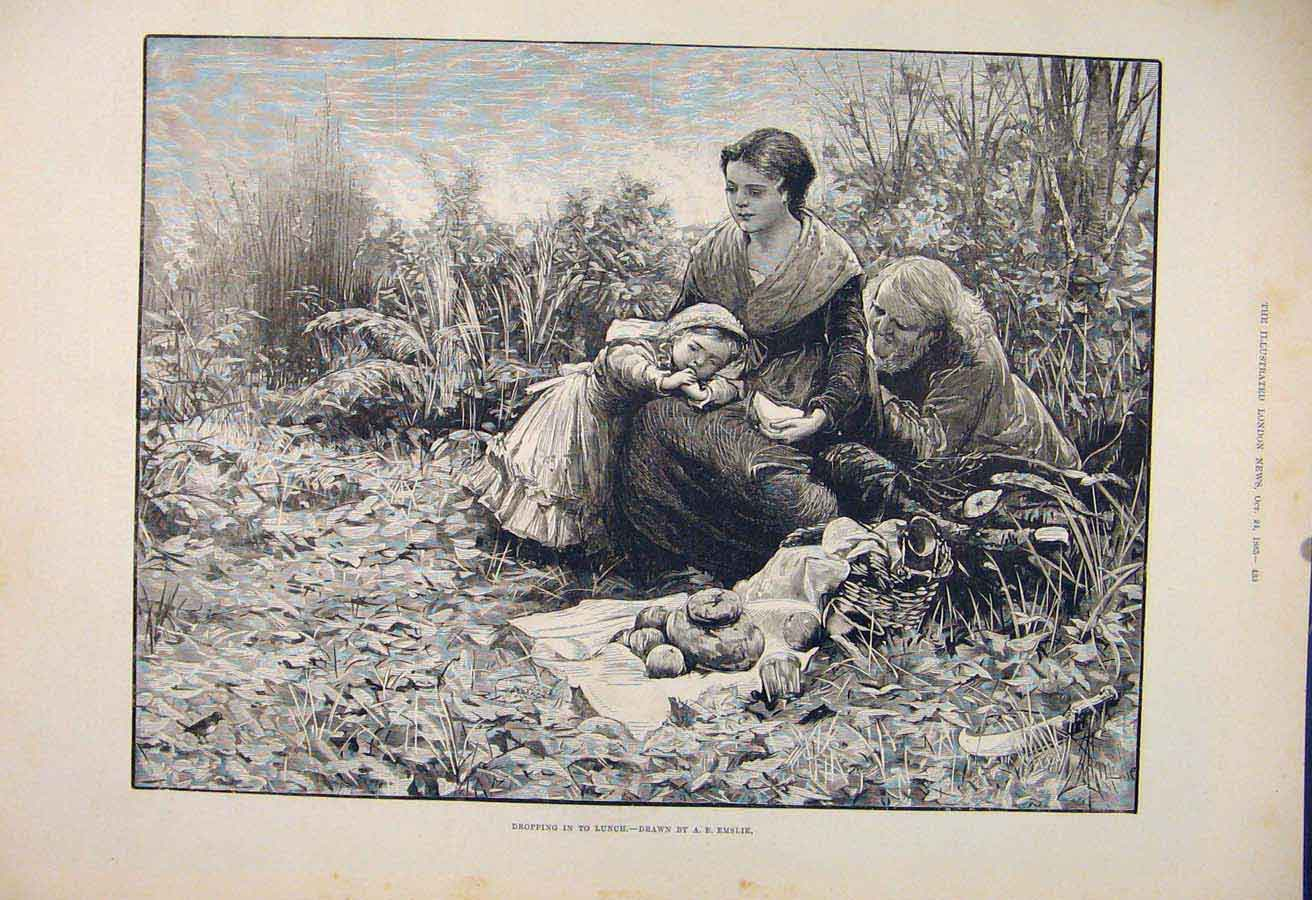 Print Lunch Picnic Bird Child Lady Emslie Fine Art 1885 33Maa1 Old Original