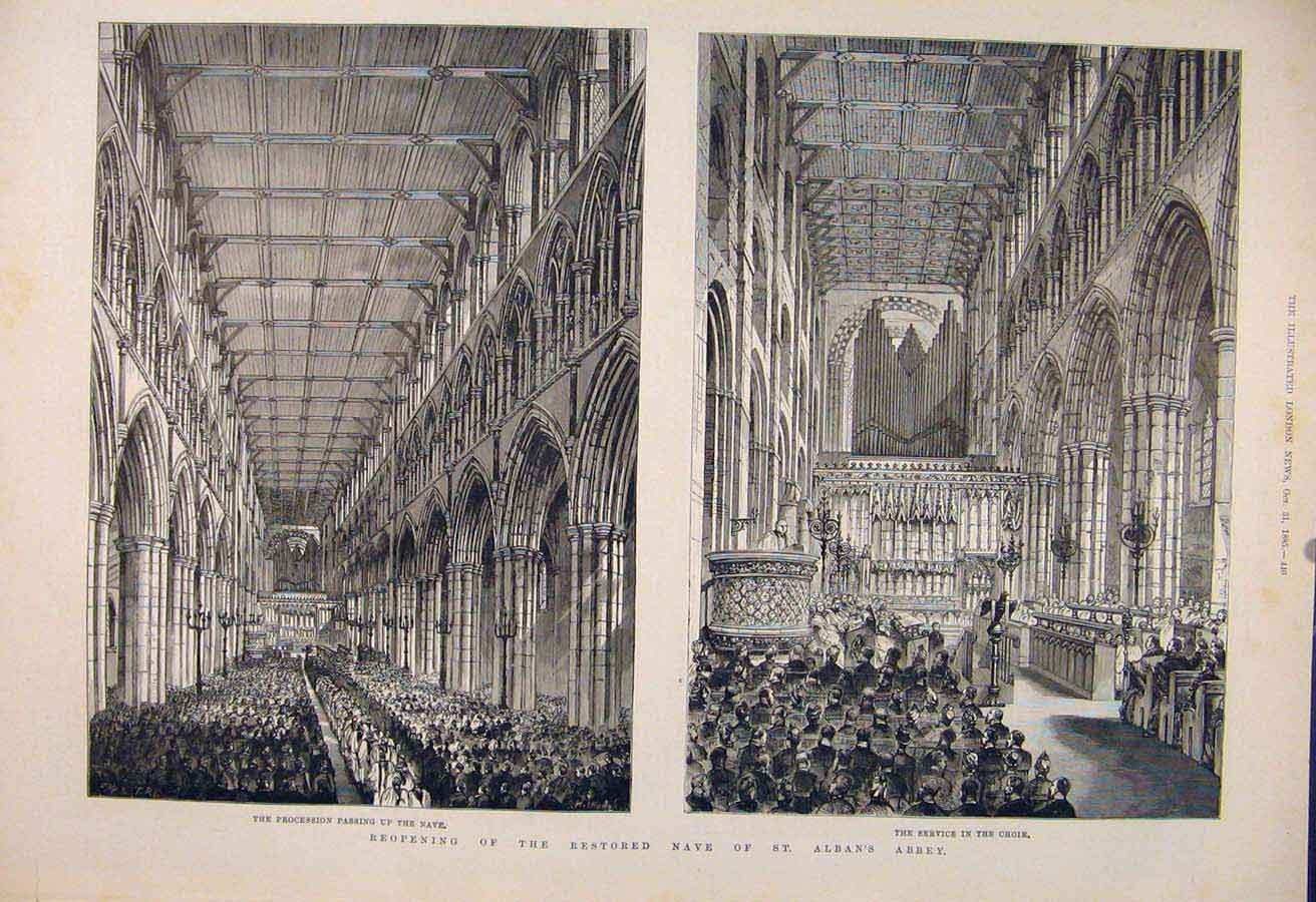 Print Nave St Alban'S Abbey London Choir Procession 1885 40Maa1 Old Original