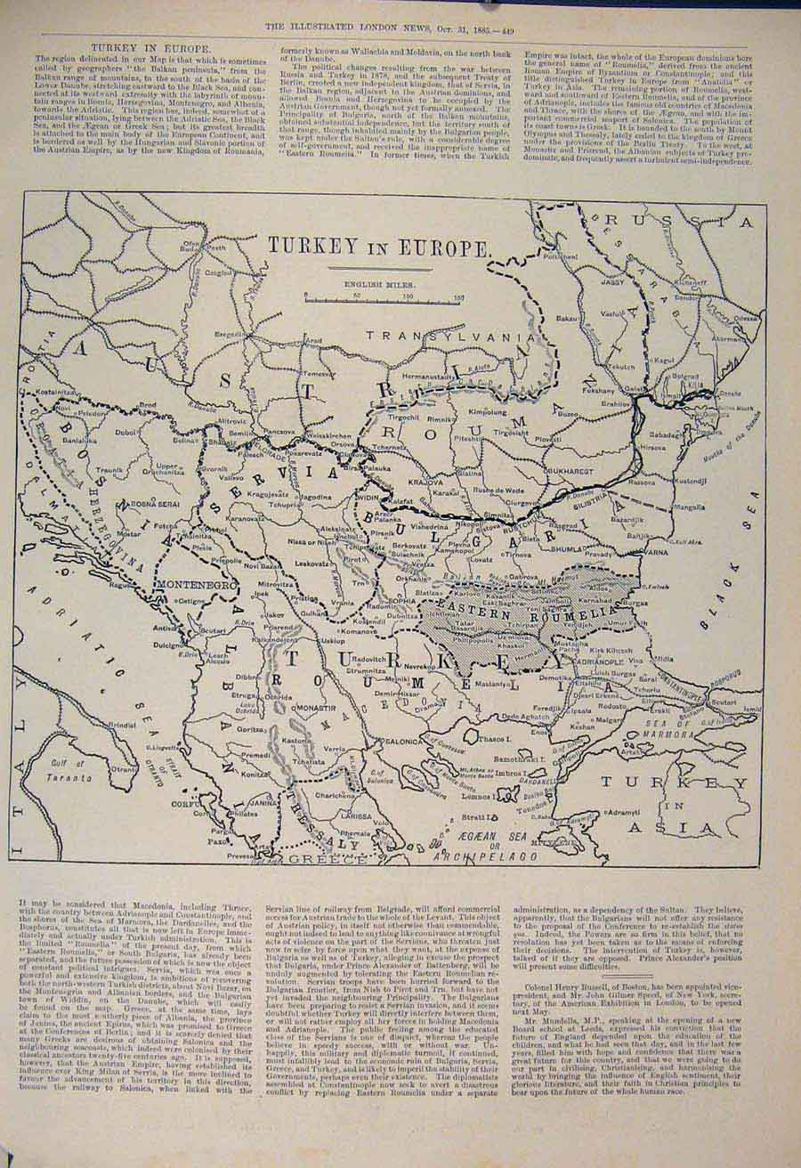 Print Map Turkey Europe Servia Bulgaria Roumania 1885 49Maa1 Old Original