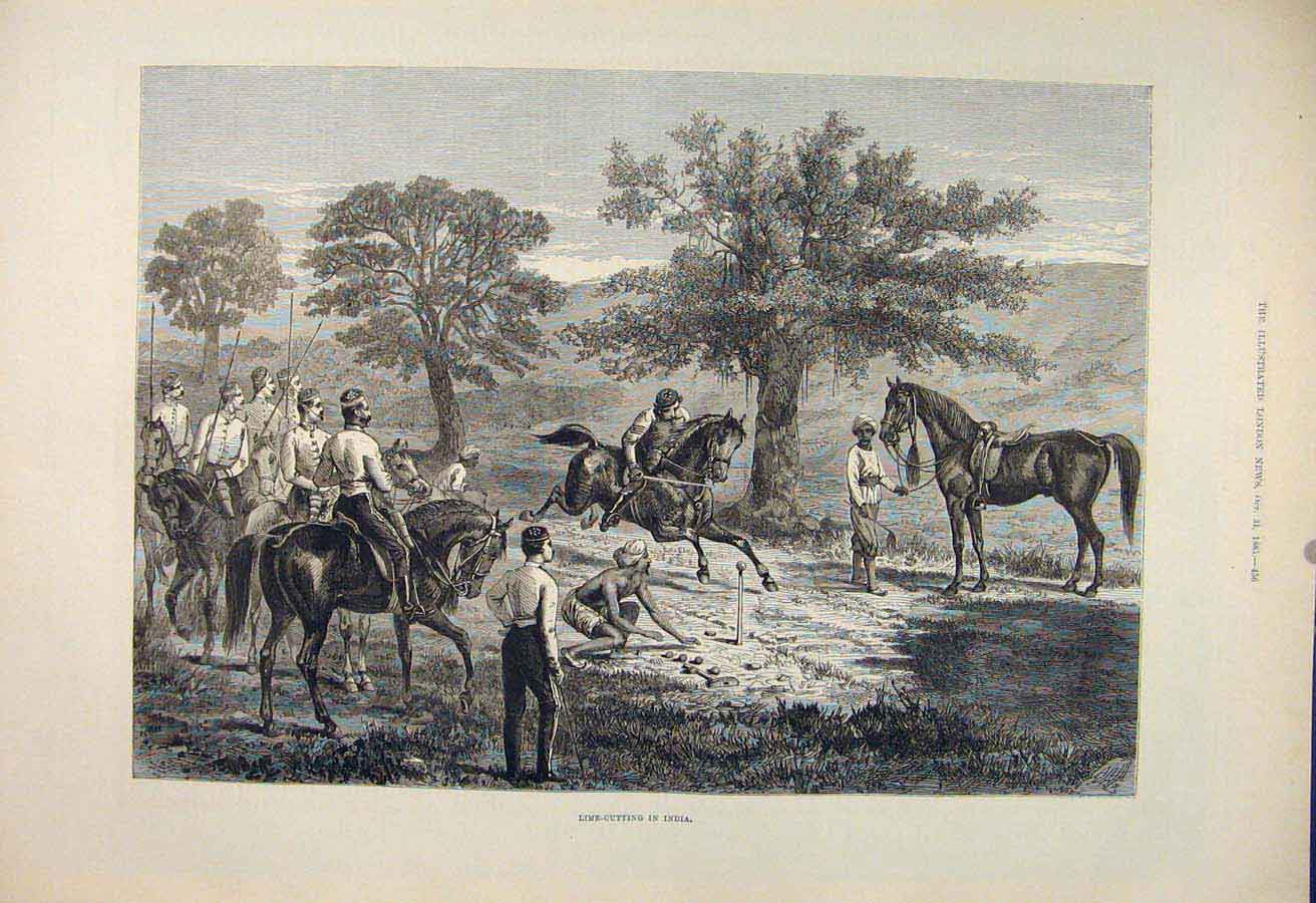 Print Lime Cutting India Sport Games Horse Indian 1885 56Maa1 Old Original
