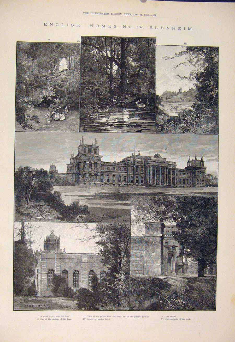 Print English Homes Blenheim Glyme Palace Chapel Garden 1885 61Amaa1 Old Original