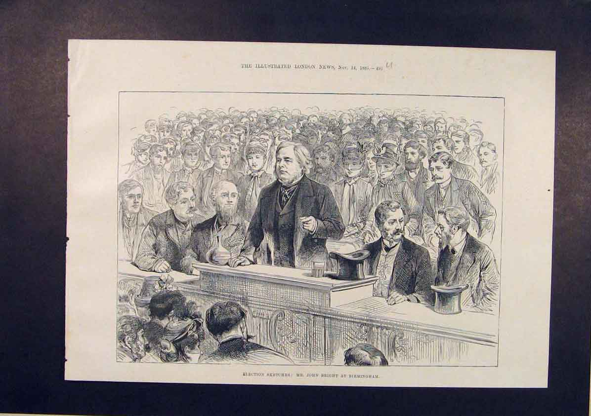 Print Election Sketches Bright Birmingham 1885 95Umaa1 Old Original