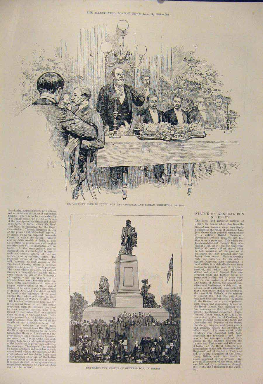 Print George'S Club Banquet Colonial Indian Statue Don Jersey 02Maa1 Old Original