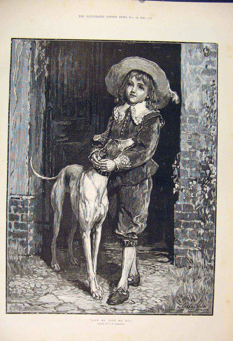 Print Love Me Dog Garland Fine Art 1885 11Maa1 Old Original
