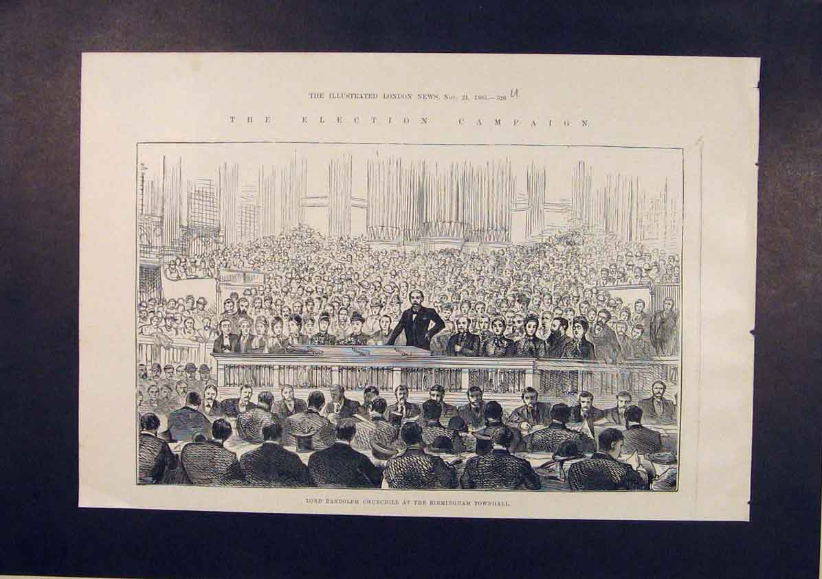 Print Lord Churchill Birimngham Town Hall Election 1885 26Umaa1 Old Original