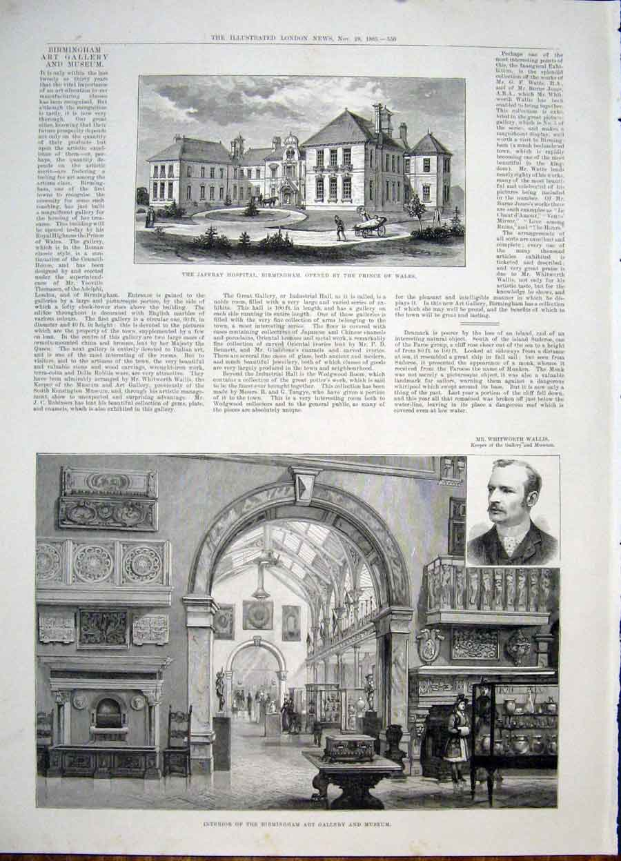 Print Jaffray Hospital Birmingham Gallery Museum 1885 50Maa1 Old Original