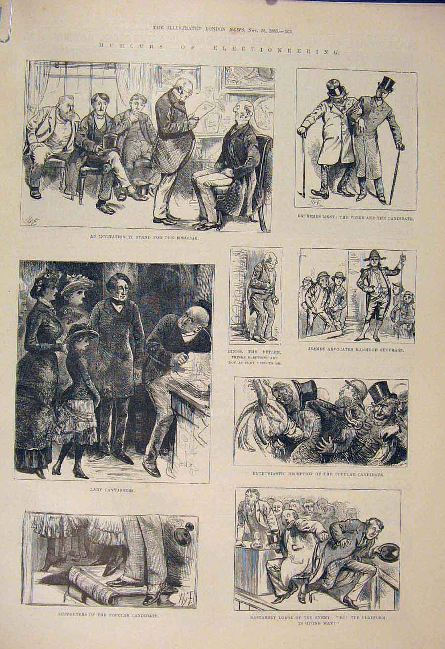 Print Elections General Election Candidate Gosset 1885 63Amaa1 Old Original