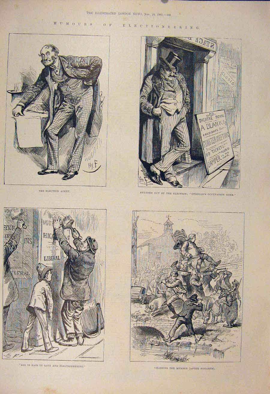 Print Election Humour Sketches Vote 1885 Fine Art 66Amaa1 Old Original