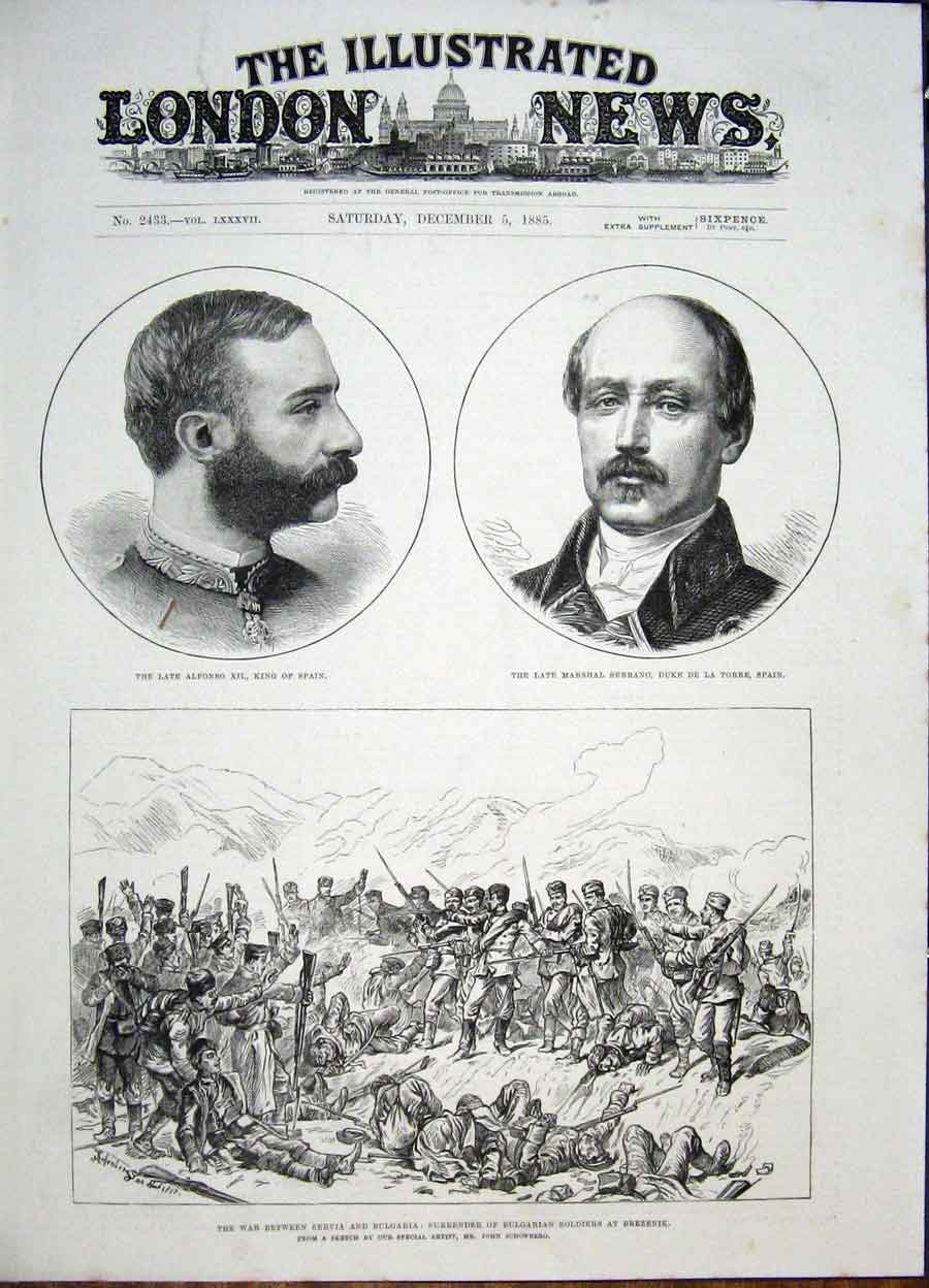 Print Portrait Alfonso Serrano Spain Servia War Bulgaria 1885 72Maa1 Old Original