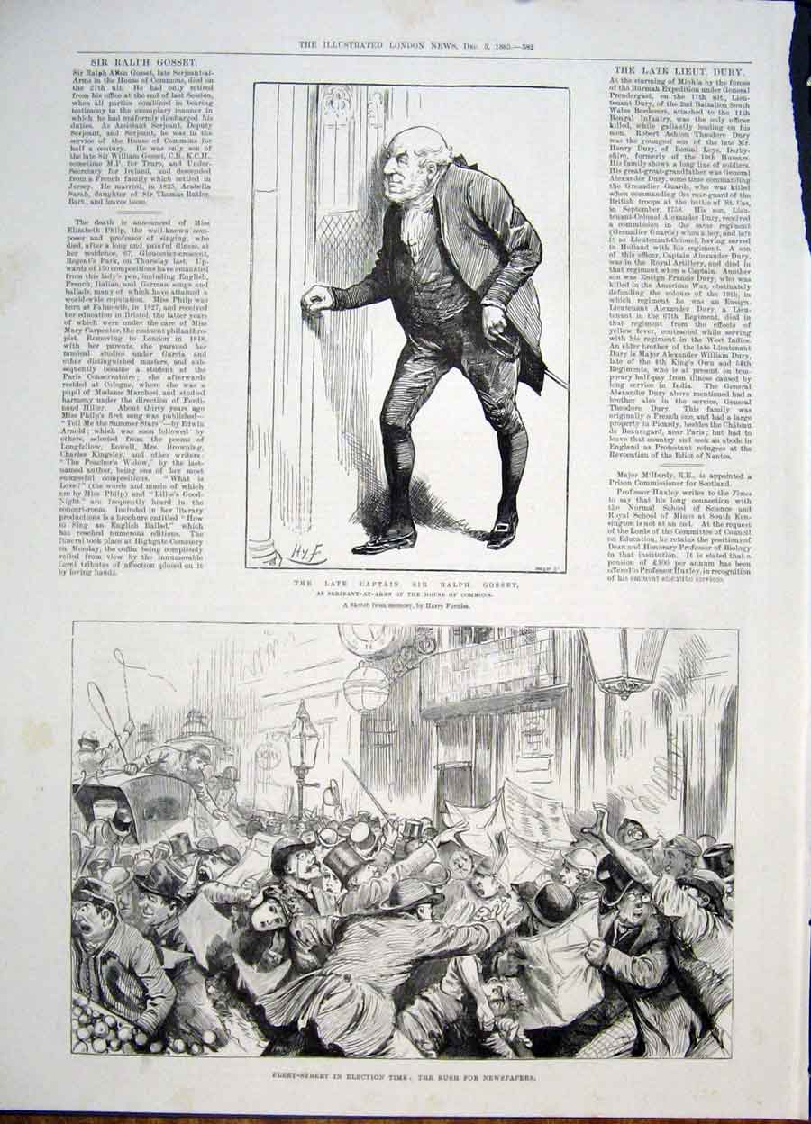 Print Gosset House Commons Fleet Street London 1885 82Maa1 Old Original