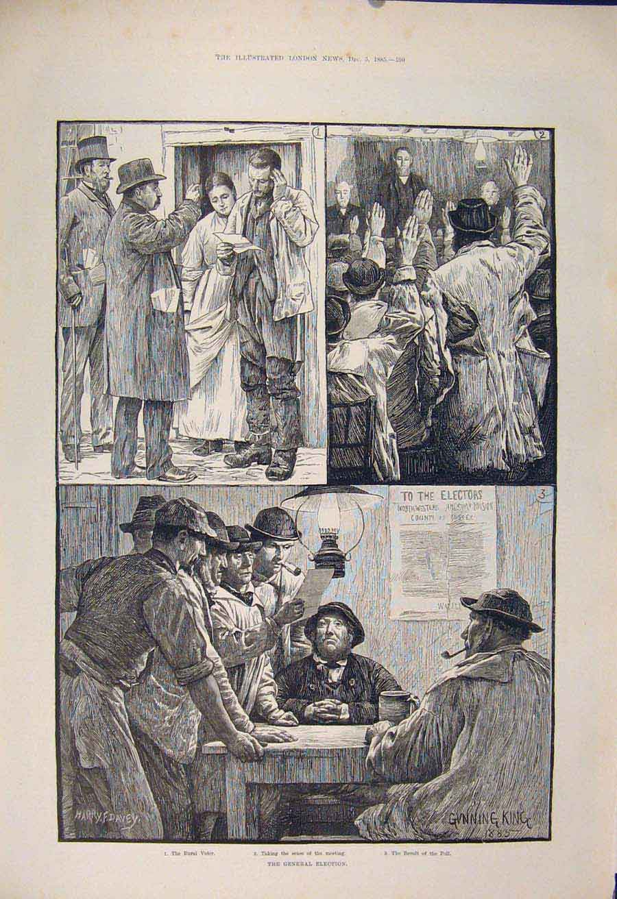 Print General Election Rural Voter Poll 1885 90Maa1 Old Original