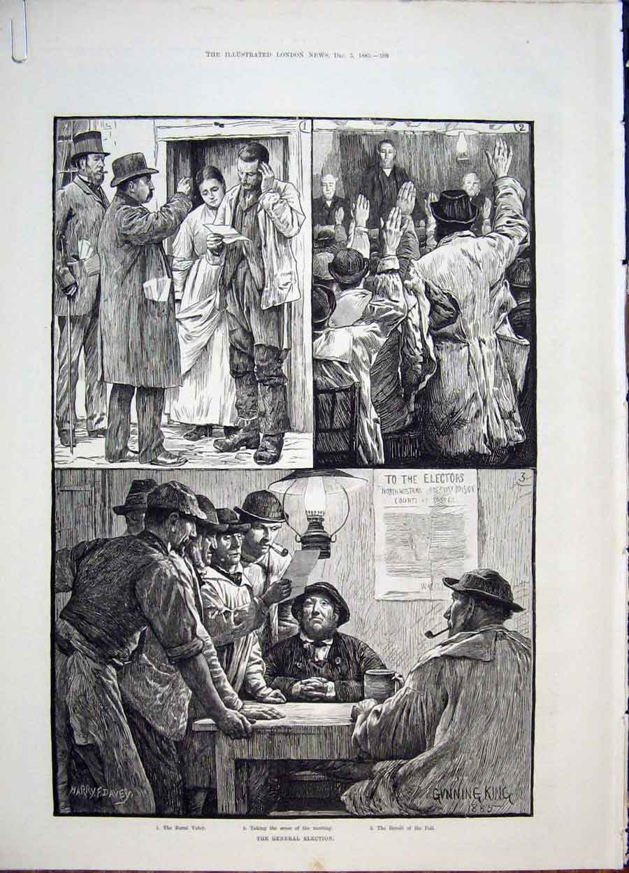 Print Election Candidate Canvasser Humour Sketches 1885 90Amaa1 Old Original