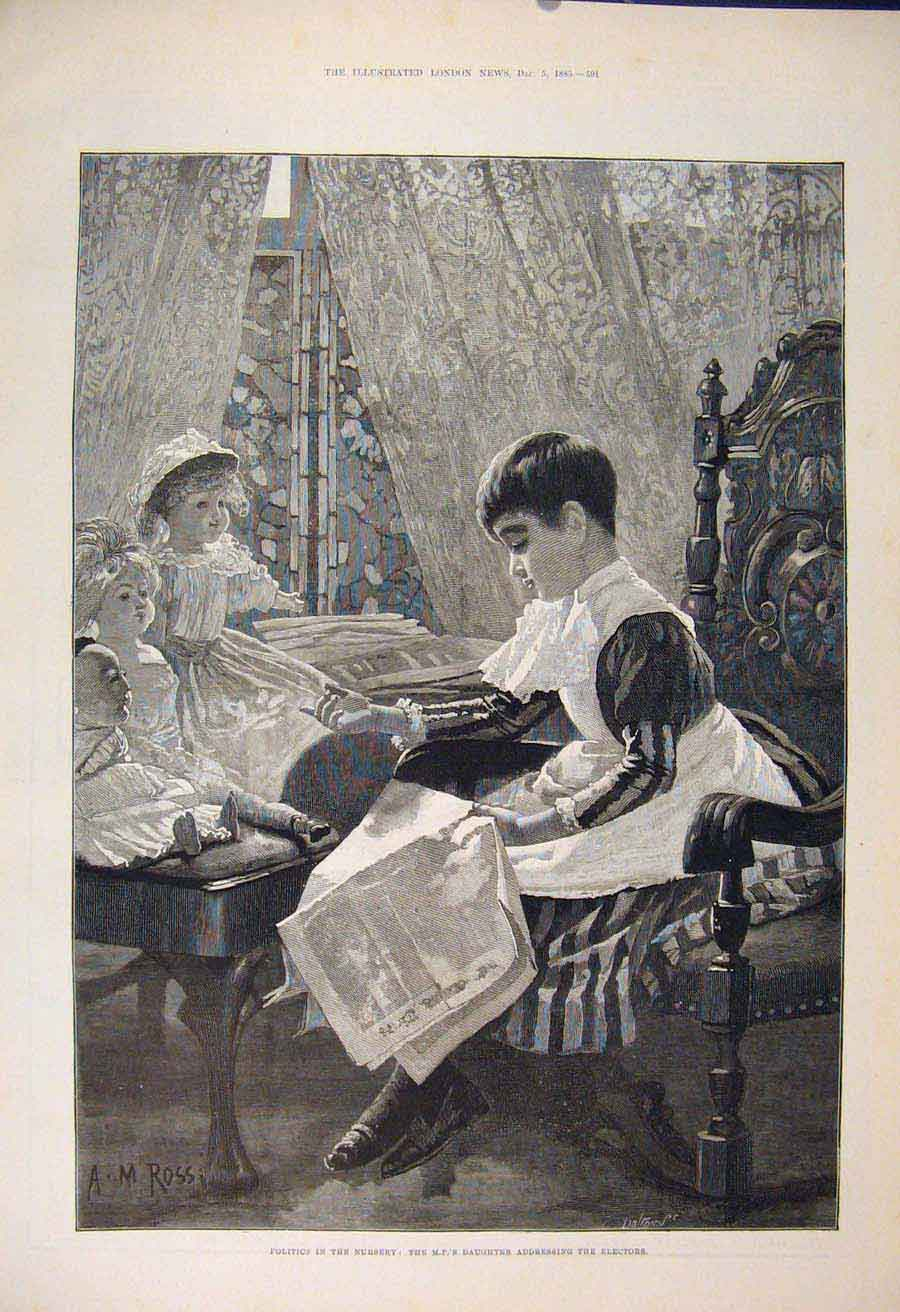 Print Politics Nursery Electors Children Fine Art 1885 91Maa1 Old Original