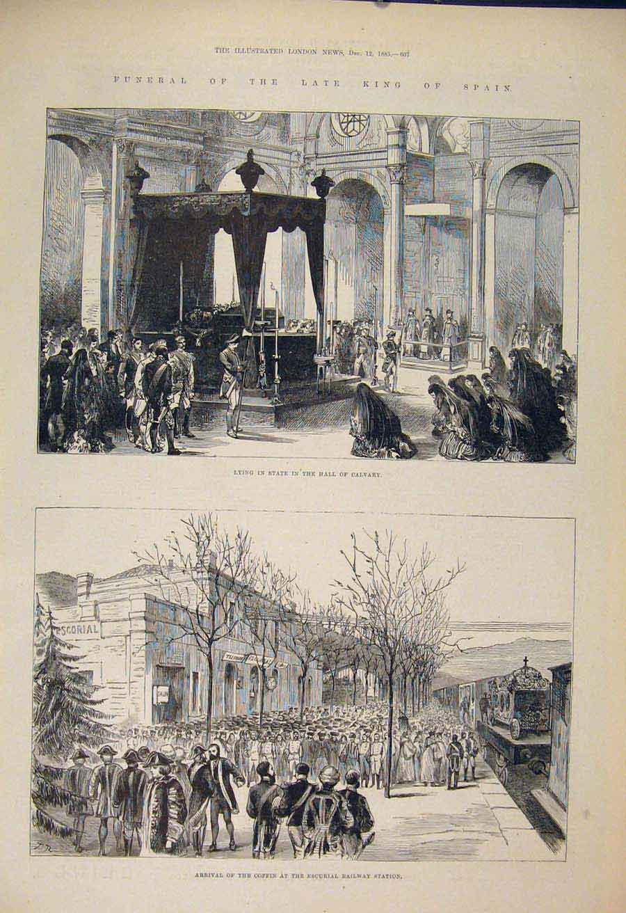 Print Funeral King Spain Calvary Coffin Escurial Railway 1885 07Maa1 Old Original
