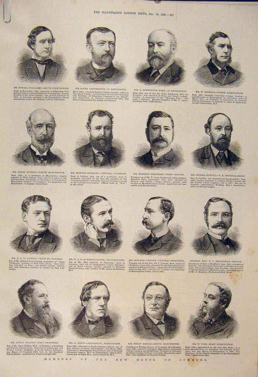 Print Portrait Members House Commons Parliament 1885 27Amaa1 Old Original