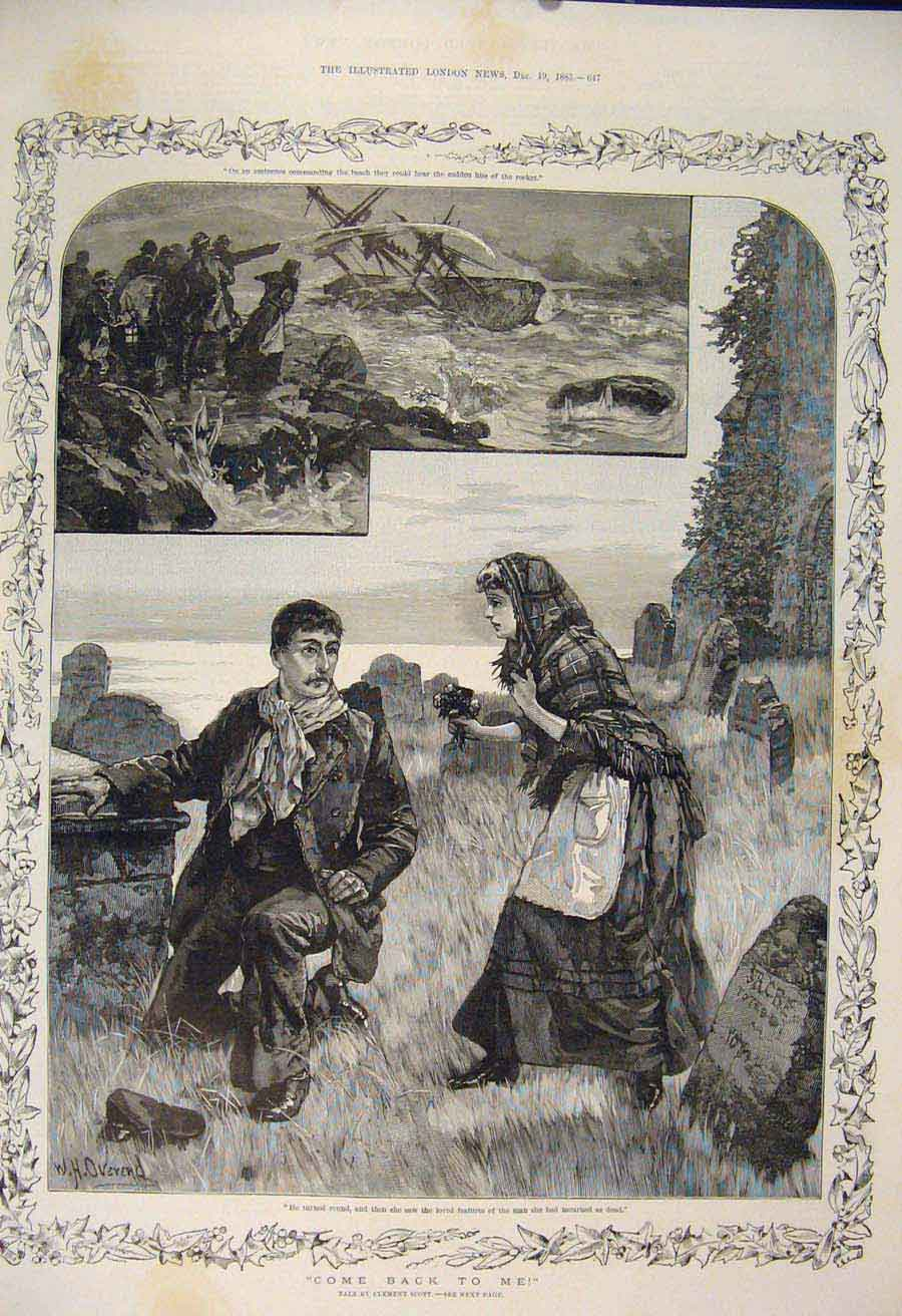 Print Ship Wreck Sailor Man Lady Sea Story Overend Scott 1885 47Maa1 Old Original