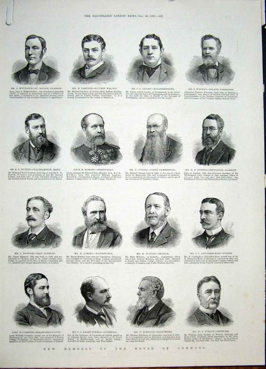 Print Portrait House Commons Members London 1885 59Amaa1 Old Original