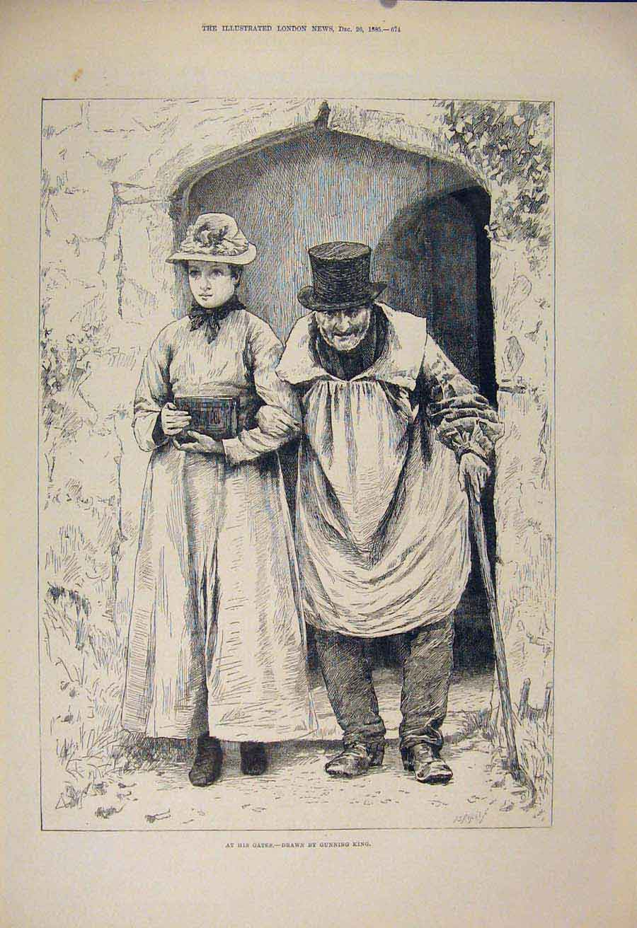 Print Gate Gates Lady Man Daughter Father King Fine Art 1885 74Maa1 Old Original
