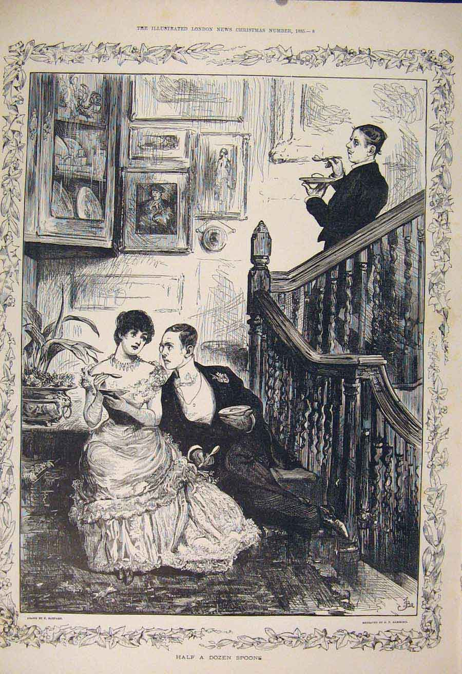 Print Admirers Spoon Barnard Men Lady Fine Art 1885 04Maa1 Old Original