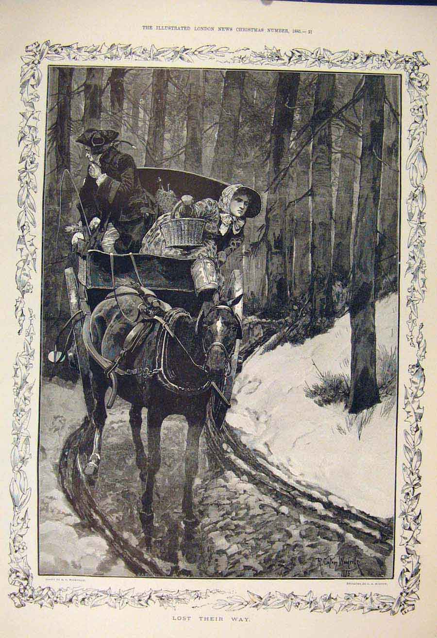 Print Lost Horse Cart Forest Man Lady Woodville Fine Art 1885 10Maa1 Old Original