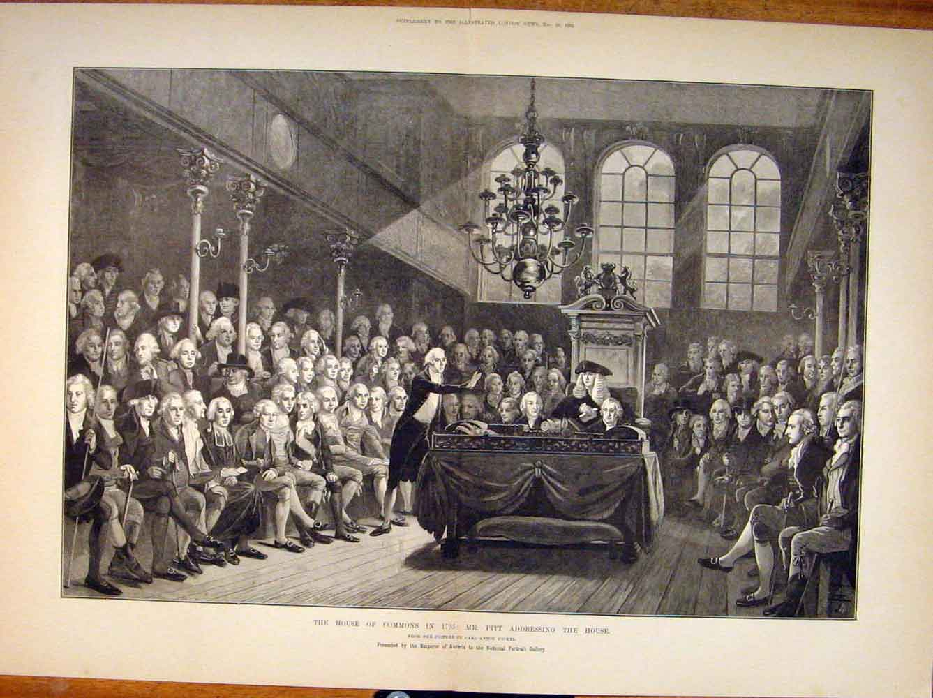 Print House Commons 1793 Pitt Hickel Austria London 1885 41Tmaa1 Old Original