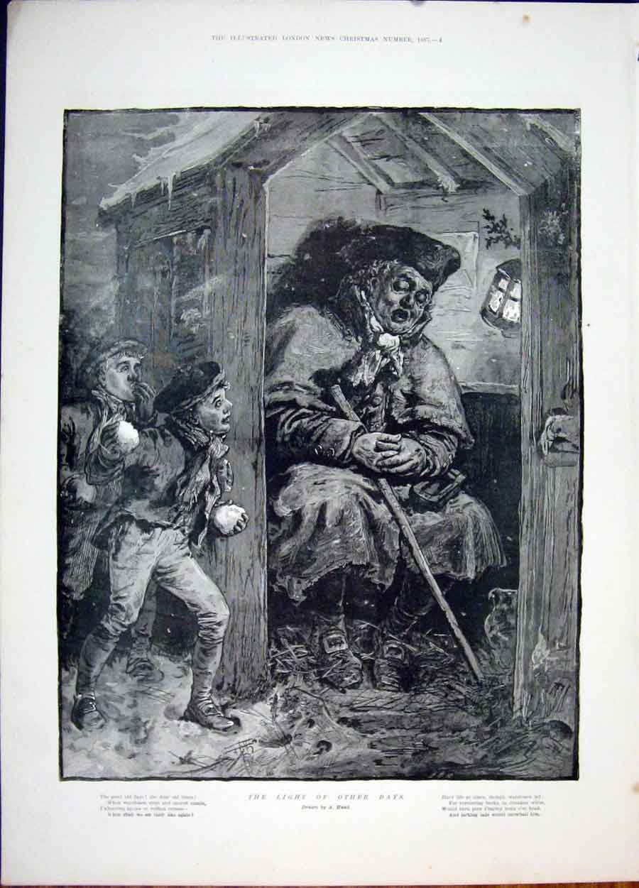 Print Light Hunt Watchmen Child Snowball Fine Art 1887 04Maa1 Old Original