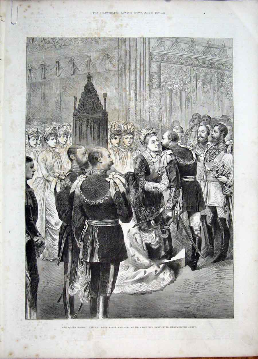 Print Westminster Abbey Queen Children Jubilee Ball Guildhall 09Amaa1 Old Original